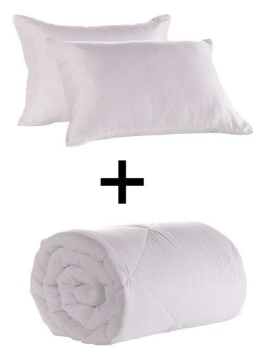 Eponj Home Silikon Yorgan+Yastık Seti Çift Kişilik  Beyaz